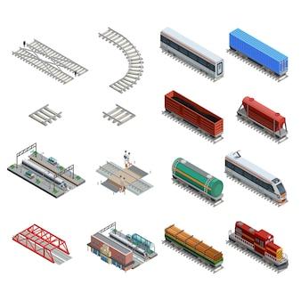 Conjunto de ícones de elementos de estação de trem