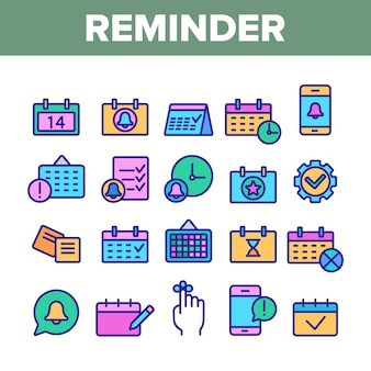 Conjunto de ícones de elementos de lembrete