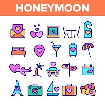 Conjunto de ícones de elementos de lua de mel