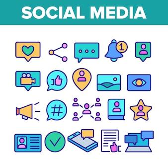 Conjunto de ícones de elementos de mídia social