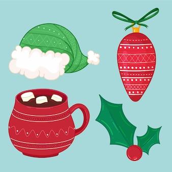 Conjunto de ícones de elementos de natal decoração de azevinho de chocolate quente com chapéu de papai noel