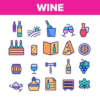 Conjunto de ícones de elementos de produtos de vinho