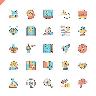 Conjunto de ícones de elementos de projeto e desenvolvimento de inicialização linha plana