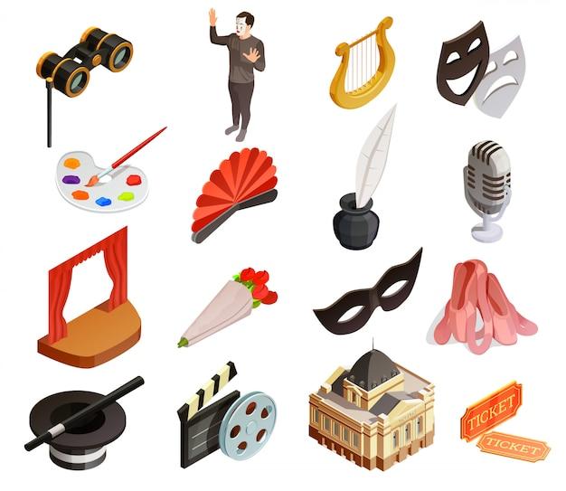 Conjunto de ícones de elementos de teatro