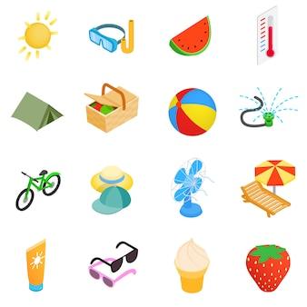 Conjunto de ícones de elementos de verão