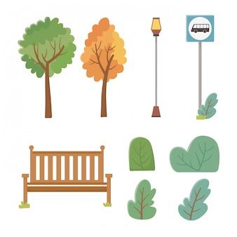 Conjunto de ícones de elementos do parque