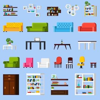 Conjunto de ícones de elementos interiores