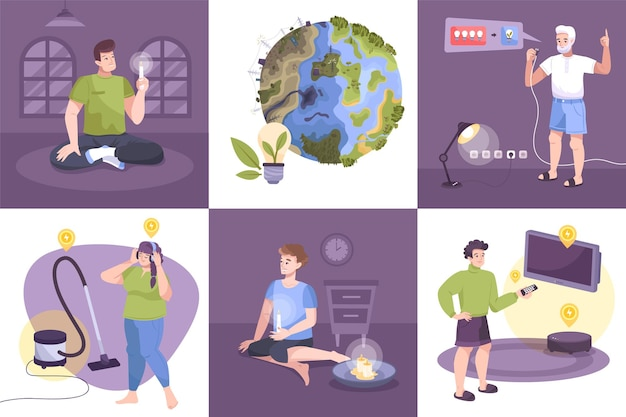 Conjunto de ícones de eletricidade plana com economia de eletricidade, desligando luzes, salvando o planeta e a ecologia da ilustração da terra