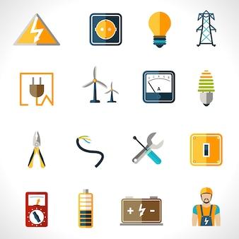 Conjunto de ícones de eletricidade