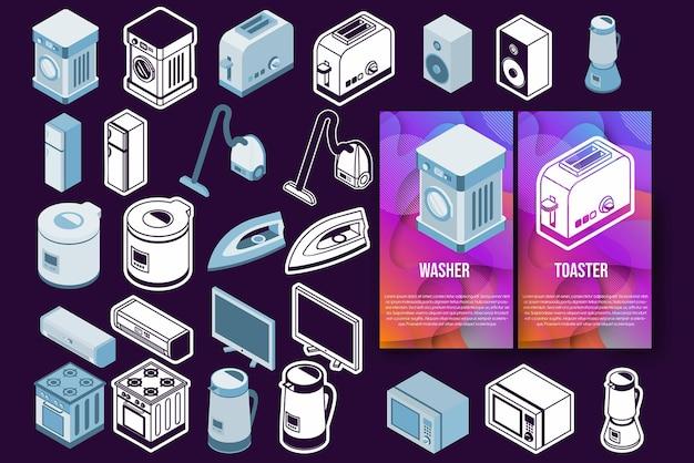 Conjunto de ícones de eletrodomésticos isométricos, pequenos eletrodomésticos e um grande vetor branco e isolado
