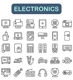 Conjunto de ícones de eletrônica, estilo de estrutura de tópicos