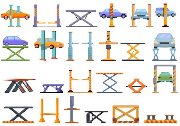 Conjunto de ícones de elevador de carro. ícones de elevador de carro