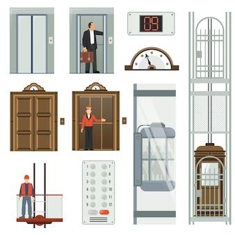Conjunto de ícones de elevador