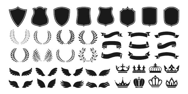 Conjunto de ícones de emblema vintage heráldica coroa escudo fita asa coroa de flores