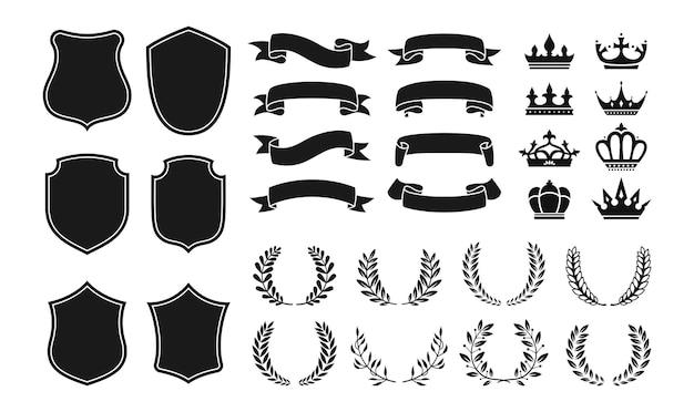 Conjunto de ícones de emblemas de heráldica brasão coroa escudo fita coroa de louros brasão de armas