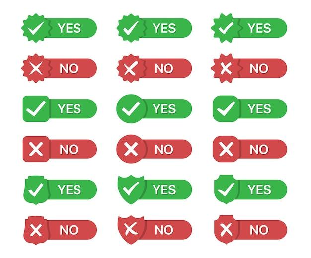Conjunto de ícones de emblemas sim e não em um design plano