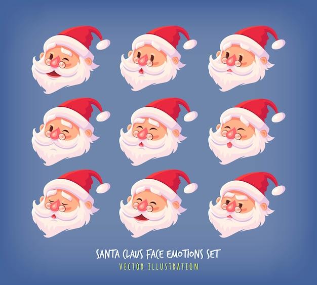 Conjunto de ícones de emoções de rosto de papai noel bonito dos desenhos animados enfrenta coleção ilustração de feliz natal