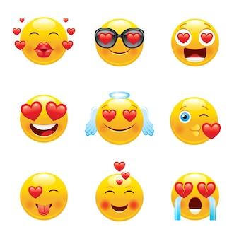 Conjunto de ícones de emoji de amor.
