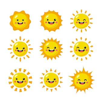 Conjunto de ícones de emoji de sol isolado no fundo branco