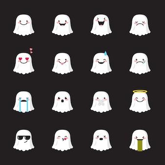 Conjunto de ícones de emoji fantasma
