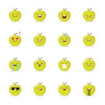 Conjunto de ícones de emoji maçã verde