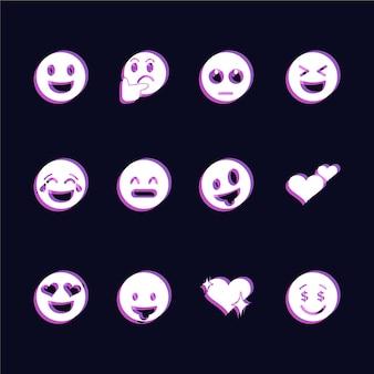Conjunto de ícones de emojis de falha