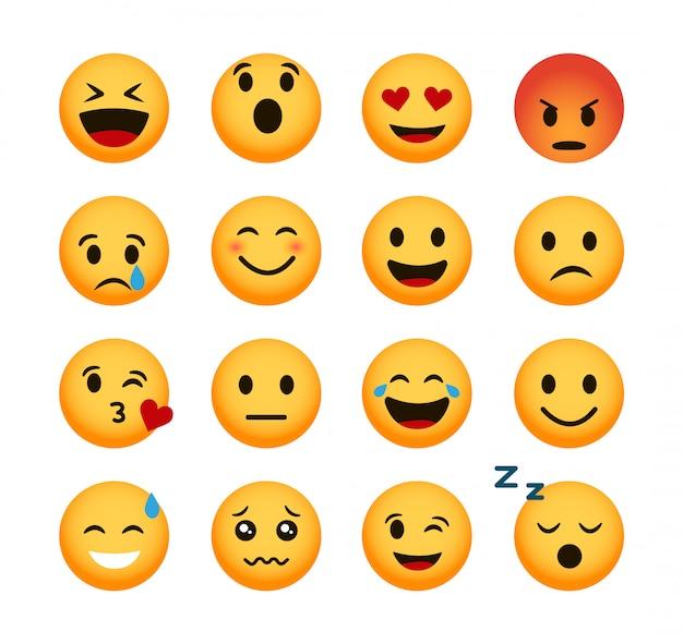 Conjunto de ícones de emoticon. vetor de emoji smileys 3d.