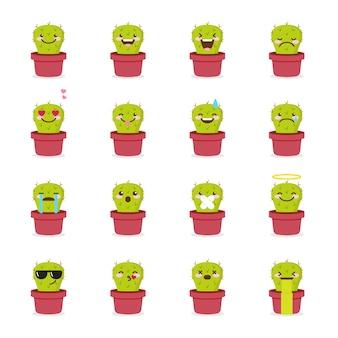 Conjunto de ícones de emoticons de cacto