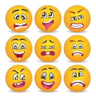 Conjunto de ícones de emoticons ou smileys