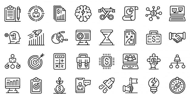Conjunto de ícones de empreendedor, estilo de estrutura de tópicos