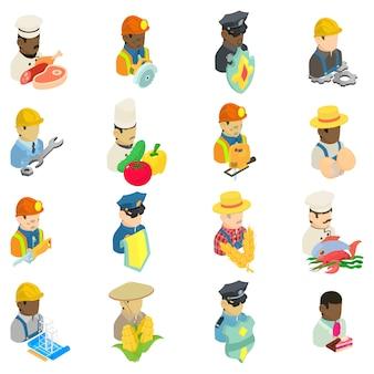 Conjunto de ícones de empregado, estilo isométrico