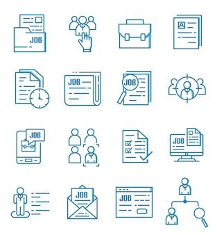 Conjunto de ícones de empregos com estilo de estrutura de tópicos