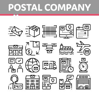Conjunto de ícones de empresa de transporte postal