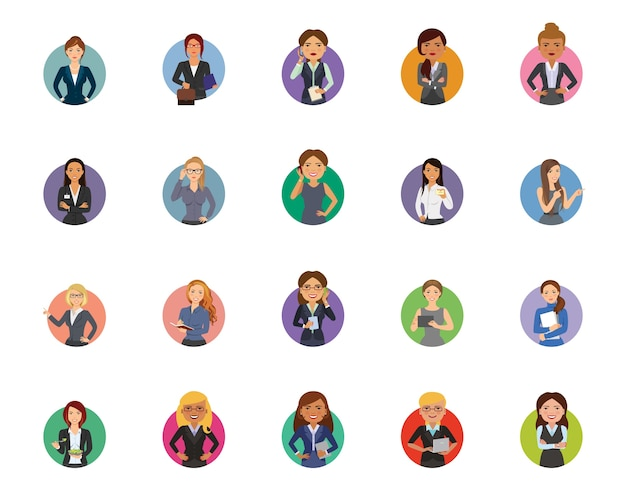 Conjunto de ícones de empresária