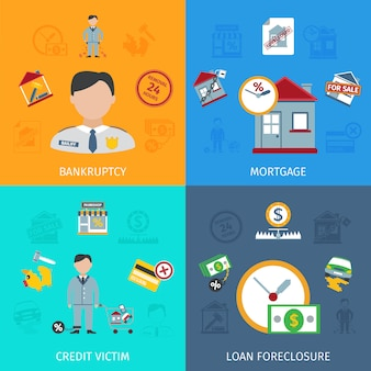 Conjunto de ícones de encerramento de empréstimo