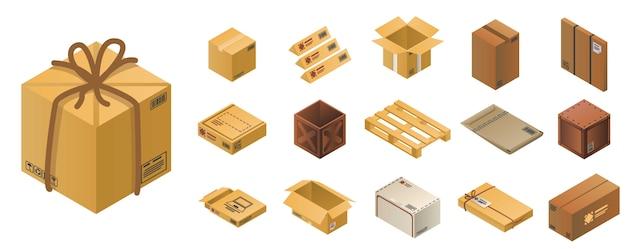 Conjunto de ícones de encomendas, estilo isométrico