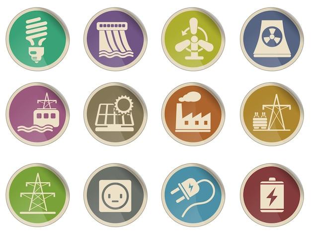 Conjunto de ícones de energia e indústria