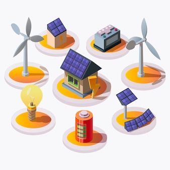 Conjunto de ícones de energia elétrica em estilo isométrico