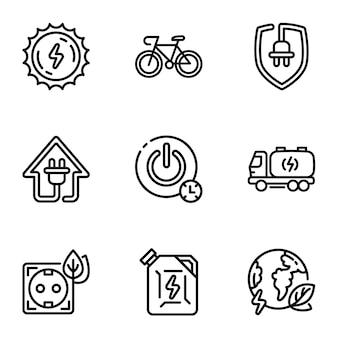 Conjunto de ícones de energia, estilo de estrutura de tópicos