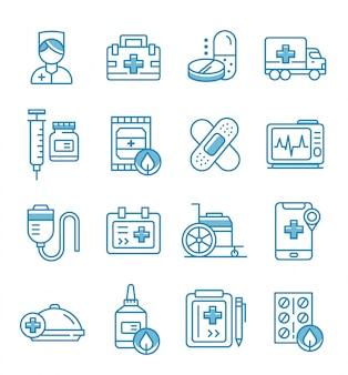 Conjunto de ícones de enfermeira com estilo de estrutura de tópicos