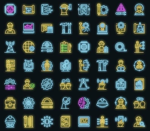 Conjunto de ícones de engenheiro de comunicações. conjunto de contorno de ícones de vetor de engenheiro de comunicações, cor de néon no preto