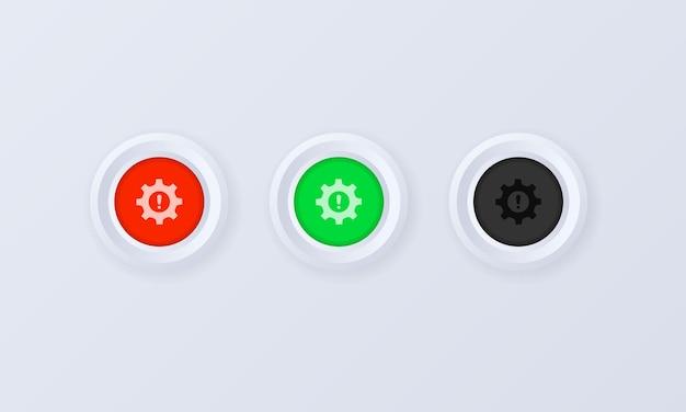 Conjunto de ícones de engrenagem ou serviços profissionais com configurações de login em estilo 3d