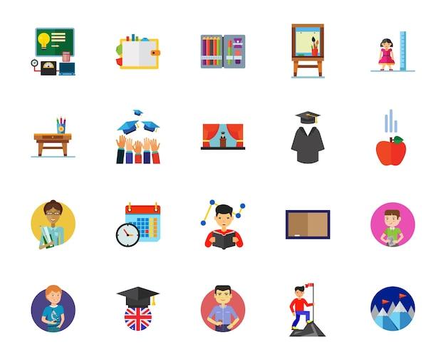 Conjunto de ícones de ensino superior