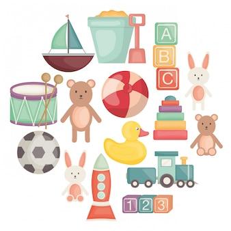 Conjunto de ícones de entertainemt de brinquedos de bebê