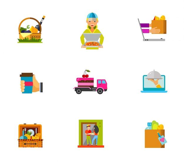 Conjunto de ícones de entrega de alimentos