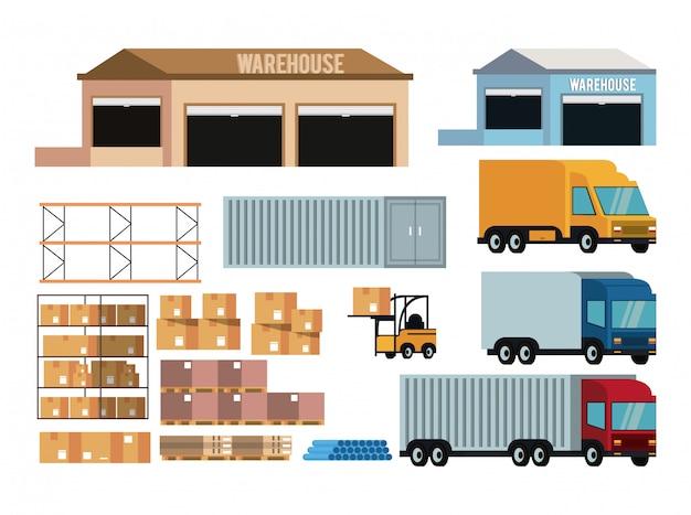 Conjunto de ícones de entrega e carga