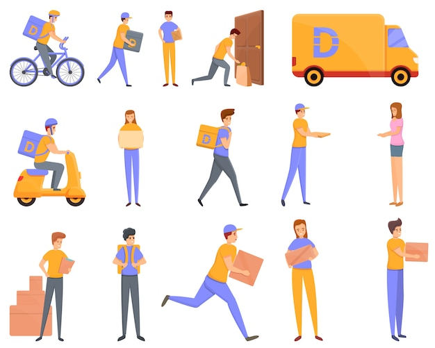 Conjunto de ícones de entrega em domicílio, estilo desenho animado