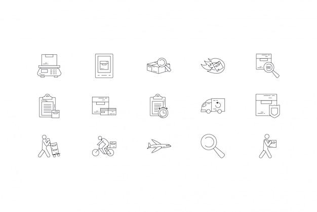 Conjunto de ícones de entrega isolado