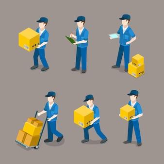 Conjunto de ícones de entregador plano isométrico no trabalho