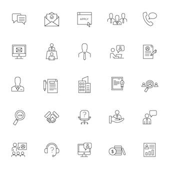 Conjunto de ícones de entrevista com contorno simples